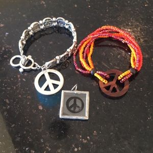 Jewelry - 2 braclets with peace sign and one pendant
